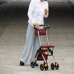 4 Roues Walking Portable Aids Pliable, Promenade Walker déambulateur avec siège, médical Roulant Walker Double système de freinage, d'occasion pour Les Personnes âgées de Marche,Brown de la marque Tellgoy-Walker image 3 produit