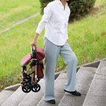 4 Roues Walking Portable Aids Pliable, Promenade Walker déambulateur avec siège, médical Roulant Walker Double système de freinage, d'occasion pour Les Personnes âgées de Marche,Brown de la marque Tellgoy-Walker image 4 produit