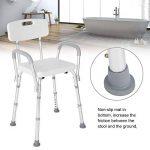 Chaise de douche avec dossier, baignoire, tabouret de douche avec bras, siège de salle de bain à hauteur réglable pour personnes âgées handicapées de la marque lahomie image 3 produit