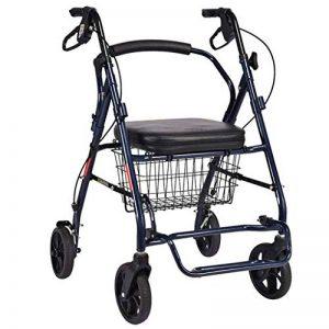 Chariot de magasinage, aide à la marche pour déambulateur, déambulateur pliant pour personnes âgées, avec dossier et pédale, équipé d'un frein à deux mains et d'un panier à provisions, charge 100kg de la marque LXDDP image 0 produit