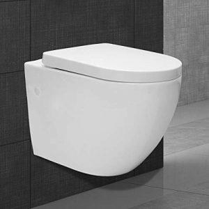 ECD Germany Cuvette WC suspendue - avec Soft Close - en céramique - amovible - lavage en profondeur - blanc - siège de toilette thermodurci de la marque ECD-Germany image 0 produit