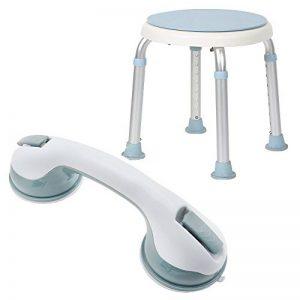 HENGMEI Tabouret de douche pivotant à 360° + poignée de baignoire / poignée d'appui à ventouses pour douche et bain de la marque HENGMEI image 0 produit