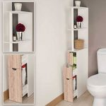 IDMarket - Meuble WC étagère bois 3 portes coloris hêtre gain de place pour toilettes de la marque IDMarket image 3 produit