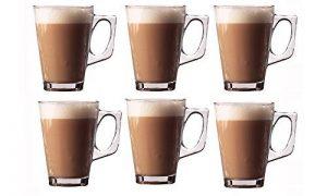 Lot de 6verres pour latte Tasses 250ml (Arc)–Idéal pour expresso, cappuccino, Café, Thé, Chocolat Chaud, boissons chaudes, Dolce Gusto et Tassimo Machines à Café présentée par cuisine étoiles de la marque Kitchen-Stars image 0 produit