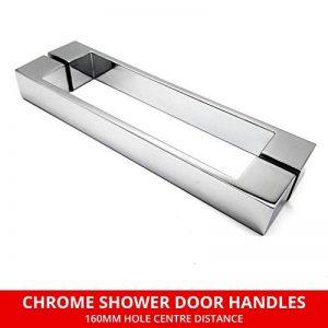 Paire de poignées de porte de douche chromées - Centres de trou 160 mm - Longueur 195 mm - Convient pour les fermetures de douche - HAND022 de la marque Shower Seal UK image 0 produit