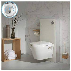 PlaneteBain Pack WC Suspendu en Verre Blanc avec Cuvette sans Bride de la marque PlaneteBain image 0 produit