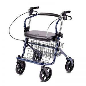PNYGJZXQ Chariot de magasinage Pliant à roulettes Walker for Les Personnes âgées Aide à la Marche avec déambulateur, Dossier et pédale équipés d'un Frein à Deux Mains et d'un Panier à provisions de la marque PNYGJZXQ image 0 produit