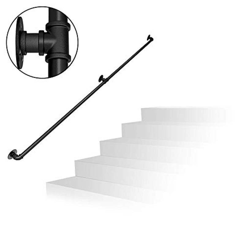 Tuyau en Fer forg/é galvanis/é 100-600cm YUDE Rampe descalier ext/érieure escaliers Main Courante int/érieure antid/érapante de Style Industriel avec Tuyau deau Villas Convient aux Bars