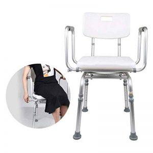 Tabouret de douche, siège de sécurité pivotant à 360 °, aide au bain for personnes âgées, handicapées et handicapées, hauteur réglable, avec bras et dossier de la marque StoolMGQ image 0 produit