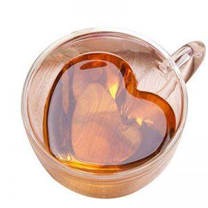 Tasse à café en verre isolé à double paroi en forme de coeur transparent SimpleMfD en forme de cœur avec poignée pour boire à froid ou à chaud de la marque SimpleMfD image 0 produit
