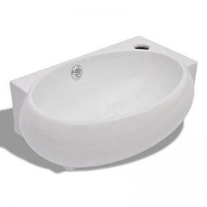 vidaXL Vasque de Salle de Bain Céramique Blanc Trou Trop-Plein Toilette Lavabo de la marque vidaXL image 0 produit
