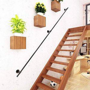 Conduite deau contre le mur Pour personnes /âg/ées loft DJSMfs Rampe descalier pour escalier En fer forg/é industriel Antid/érapant Noir mat couloir 80 cm