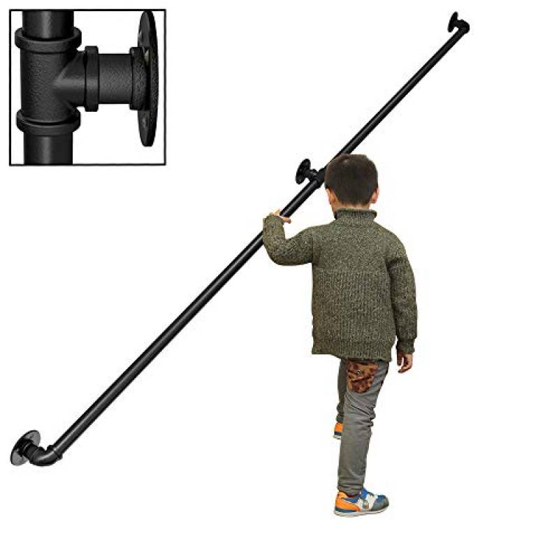 200cm-600cm en Option Main Courante pour Tuyau deau Noir YIKE-Main courante descalier Balustrade descalier en Fer forg/é avec Tuyau avec Accessoires de Montage