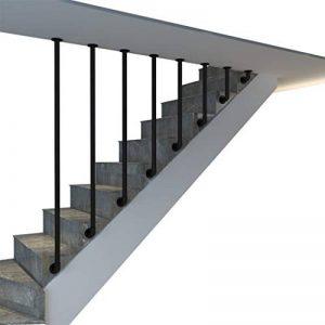 VAN Main Courante Fer forg/é Main Courante descalier pour escalier ext/érieur avec Supports Noir Mat Garde-Corps Parapet Rampe Balustrade-300cm H